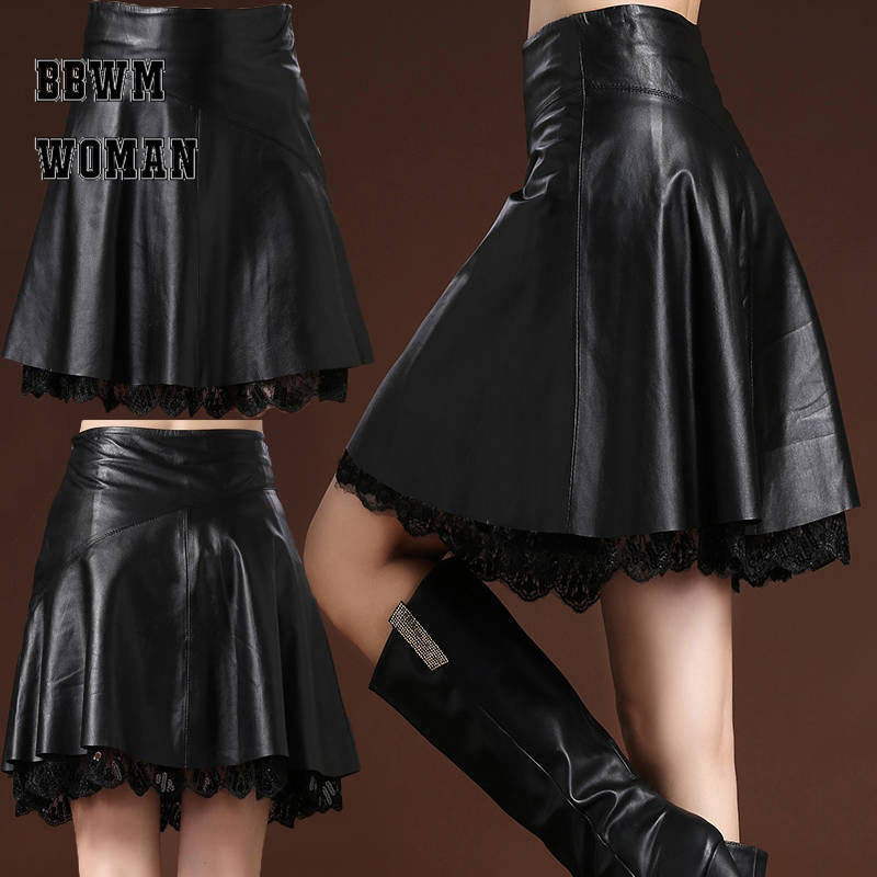 Leather Skirt Female A Word Plus Size Above Knee High Waist Pleated Autumn Winter Super Fire Skirt ZO944