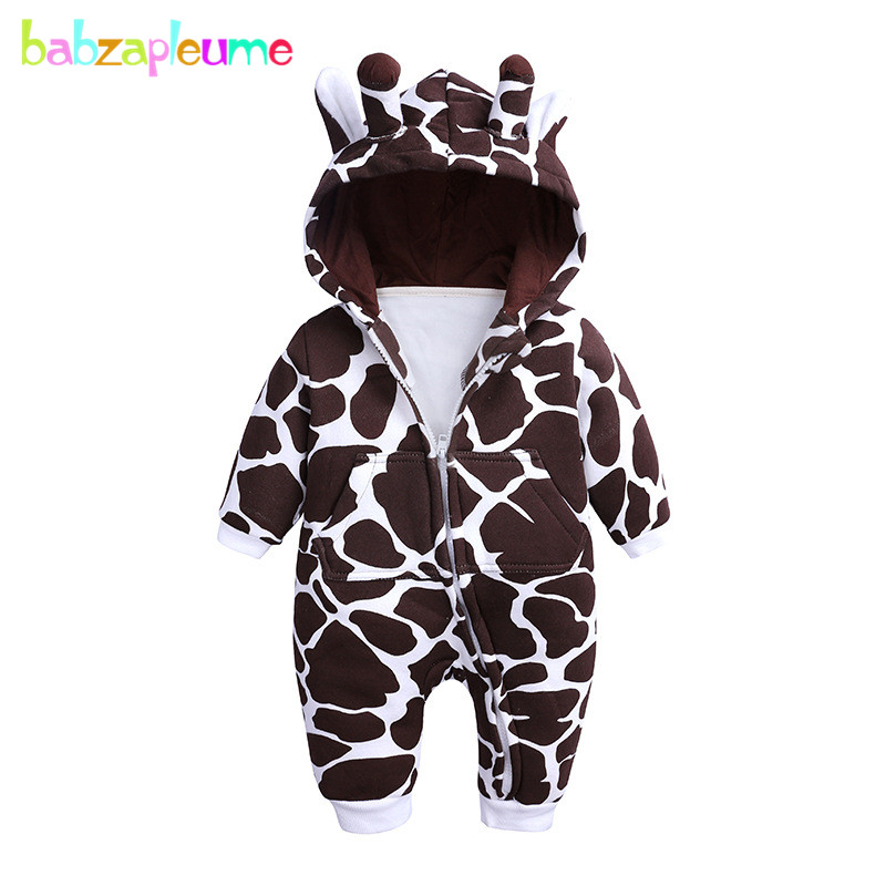 Autumn Winter Unisex Baby Clothes Cartoon Cute Giraffe Hooded Infant Boys Girls Jumpsuit Newborn Clothing Toddler   Rompers   BC1835