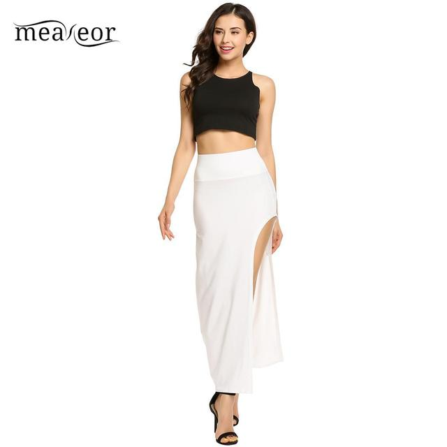 None Package High Elastic Waist Women Hip Full Long Pencil Skirt Asymmetric Backless 8