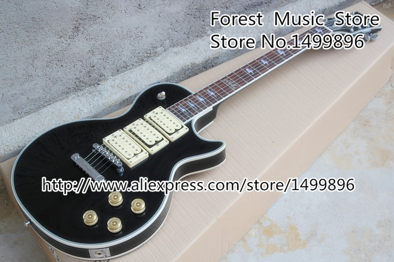 New Arrival Black Ace Frehley LP Electric Guitars China Three Pickups Guitarra In Stock new arrival 1960s corvette lp electric guitar in black china lp guitars lefty available