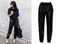 האופנה עור השחור פו נשים רצים מכנסיים אצן רופף רחוב היפ הופ ללבוש מכנסי הרמון נשים