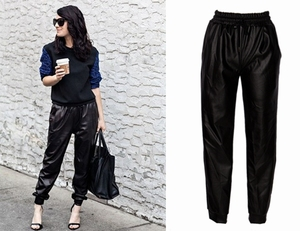 Image 1 - ファッション黒フェイクレザージョギング女性緩いジョガーパンツヒップホップストリート摩耗ハーレムパンツ女性