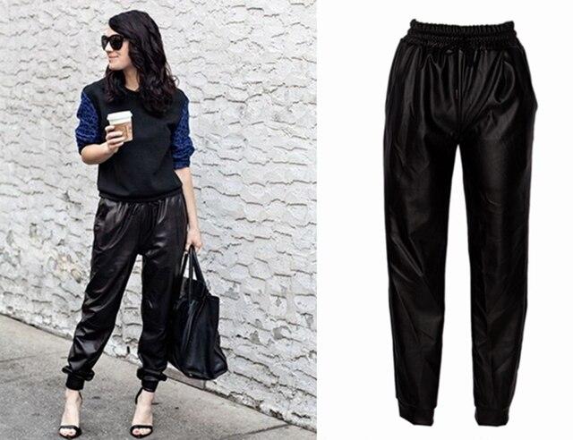 7d919d49a50f9 Moda negro imitación cuero Joggers mujeres Jogger pantalones Hip Hop Street  Wear Harem pantalones mujeres