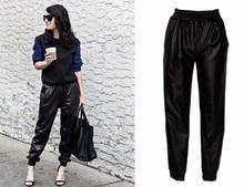 Mode Schwarz Kunstleder Jogger Frauen Lose Jogger Hosen Hip Hop Streetwear Pluderhosen Frauen