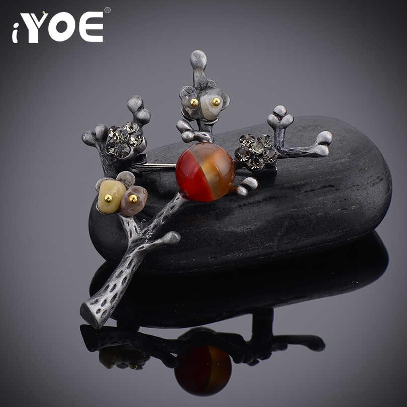 Iyoe Merek Merah Beads Vintage Plum Bunga Bros Pin untuk Wanita Sederhana Warna Perak Antik Retro Pohon Bros Perhiasan Hadiah