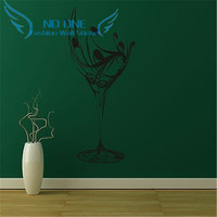 Free Shipping Wine Glass Kitchen Wall Sticker Home Decor For Kitchen Room Vinyl Art Decal Kitchen