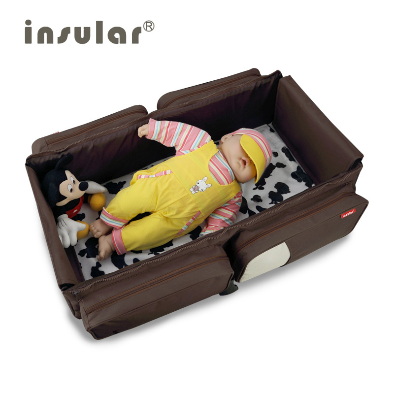 Insular Portable Baby Travel Bed 2In1 Polyester Movement Folding Baby Cradle Multi-function Mummy Baby Bag For Diaper Changing