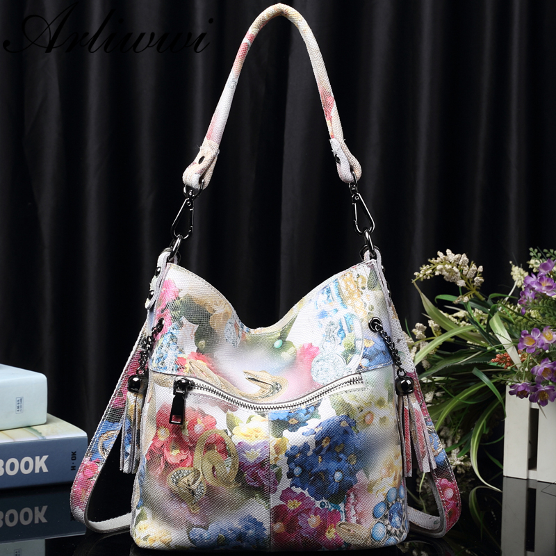 Image 3 - Arliwwi Brand High Class Shiny Floral REAL LEATHER Women Handbags Bags Fashion 2019 New Genuine Cow Leather Blossom Designer Bag-in Shoulder Bags from Luggage & Bags