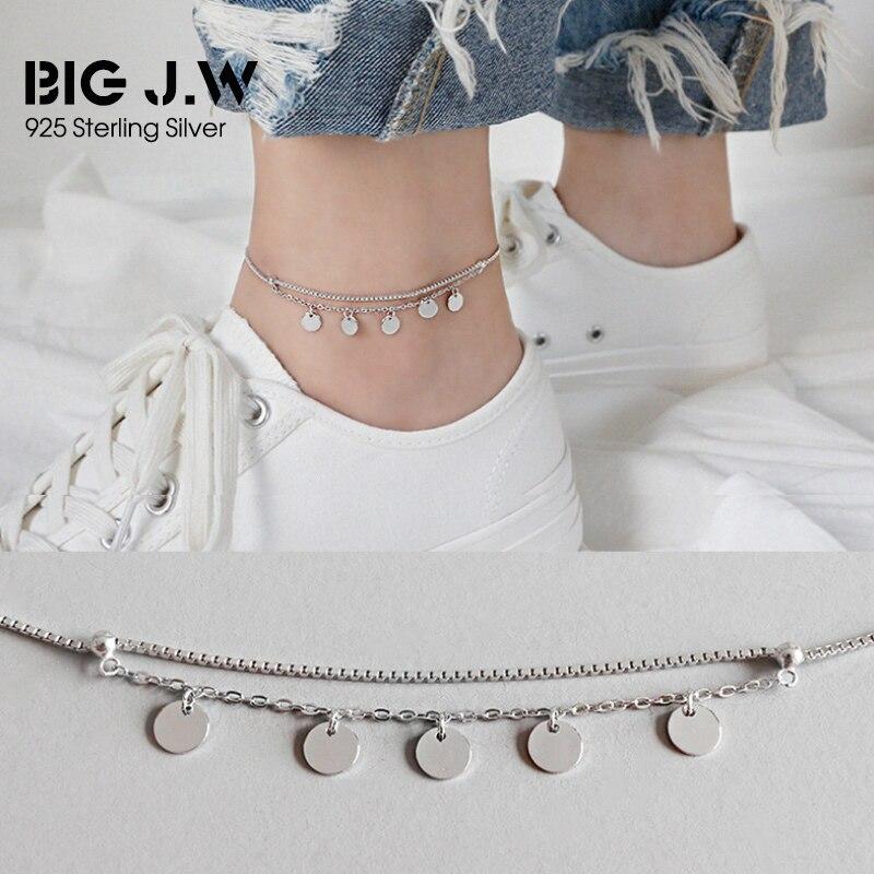 081d99d9c74a Pulseras de tobilleras grandes de plata de ley 925 a la moda de J. W para  mujer Simple doble capas ...