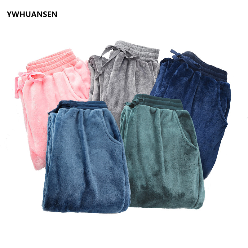 YWHUANSEN Women's Super Soft Flannel Solid Color Pajama Louge Winter Warm Bottom Pant For Sleeping Men's Thicken Pajama Trousers