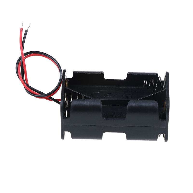 1pc Battery Case Holder Plastic Storage Box DIY For AA Batteries Clip Holder With Wire Lead for battery With 4 Slots