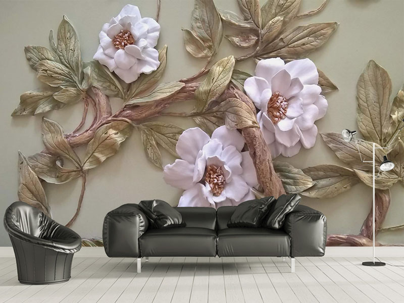Large Papel Mural Emboss Flower Trees 8d/3d Wall Photo Mural Wallpaper 3d murals wall paper for living room 3d wall murals custom 3d photo wallpaper mural nordic cartoon animals forests 3d background murals wall paper for chirdlen s room wall paper