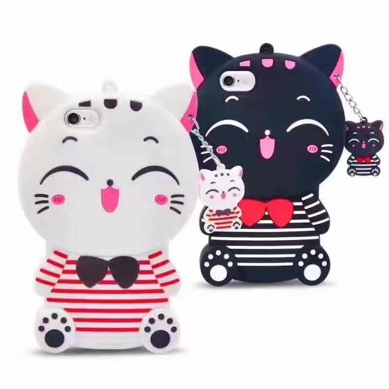 Модный мягкий силиконовый чехол для телефона с 3D мультяшным карманом и кошкой, медведем и кроликом для iPhone X/5 5S/SE/5C/6/7/8/plus