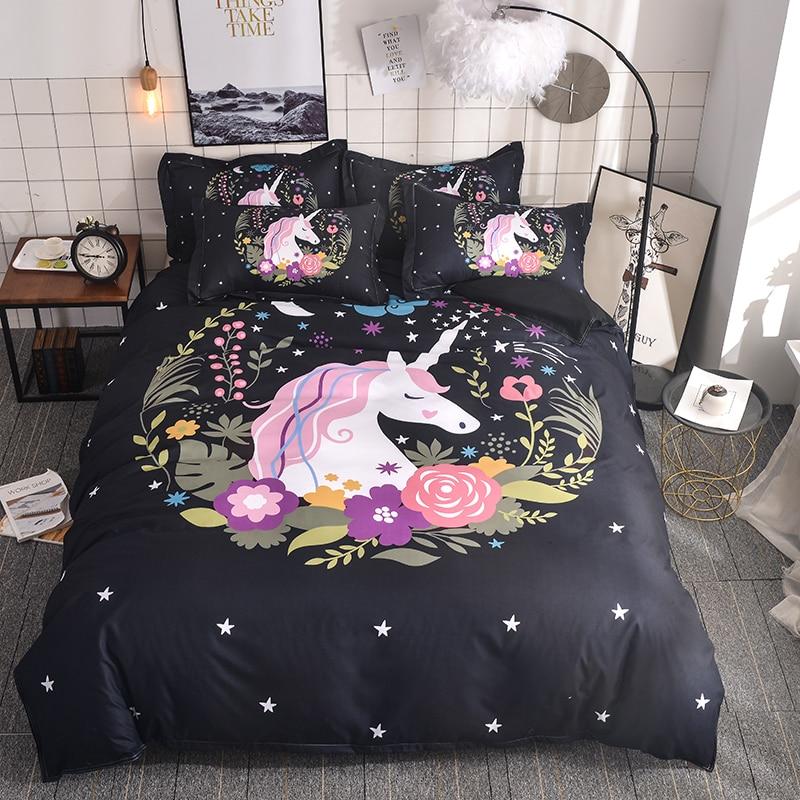 WAZIR 3D Watercolor unicorn bedding Cartoon Bedroom Bedding Set duvet cover set 6 Size US AU Double bedclothes bed linen