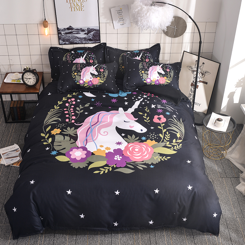 WAZIR 3D Watercolor unicorn bedding Cartoon Bedroom Bedding Set duvet cover set 6 Size US AU
