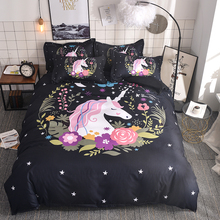 WAZIR 3D Watercolor unicorn bedding Cartoon Bedroom Bedding Set duvet cover set 6 Size US AU Double bedclothes bed linen
