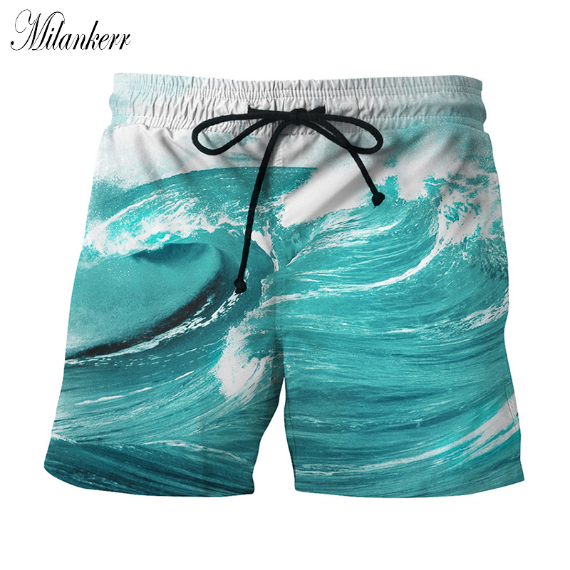 Summer 3D Print Surfing Shorts Mens Clothing Leisure Board Shorts Beach Swimming Wave Elastic Waist Short Pants