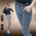Más el Tamaño 2016 Otoño Invierno Moda Mujeres Plaid Pantalones de Largo Pantalones flacos de Las Mujeres Pantalones Lápiz Delgado de Algodón Mediados de Cintura Negro T5266