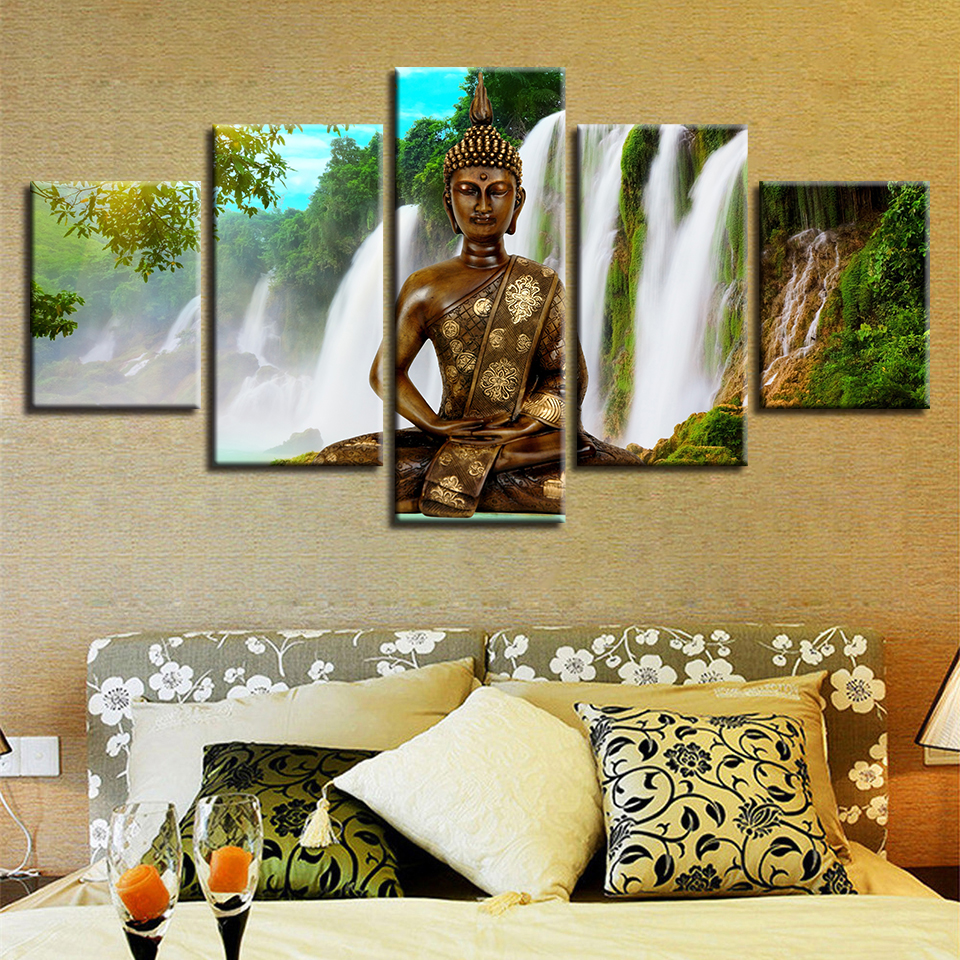 Framework Picture Modular HD Printing 5 Pieces Buddha Meditation Waterfall Natural Landscape Canvas Painting Decor Home Wall Art