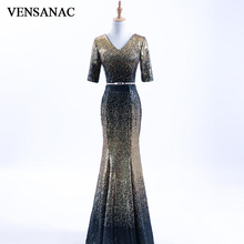 VENSANAC 2018 V Neck Sequined Long Mermaid Evening Dresses Party Metal Sash Lace Half Sleeve Backless Prom Gowns