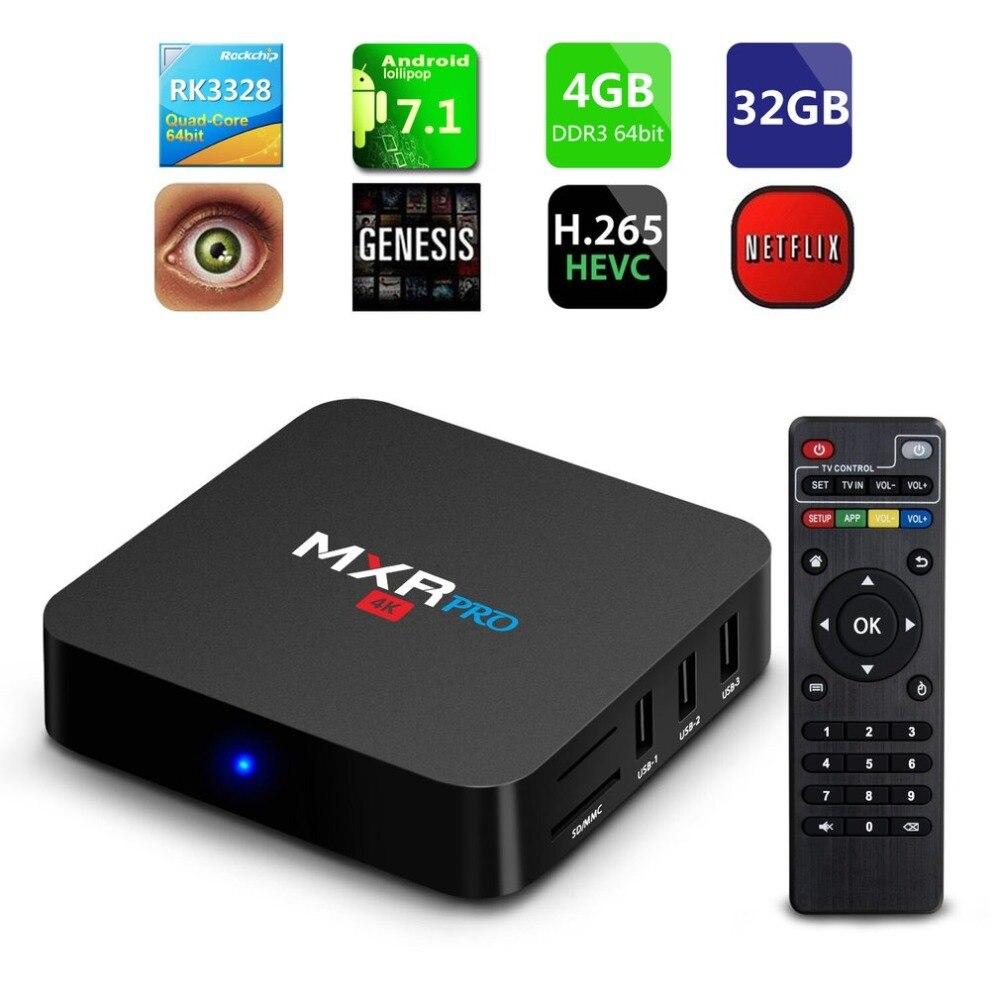 MXR PRO Smart ТВ коробка 4 ГБ Оперативная память 32 ГБ Встроенная память Android 7,1 RK3328 4 ядра 2,4 ГГц Wi-Fi H.265 UHD 4 К плеер устройства развлечения