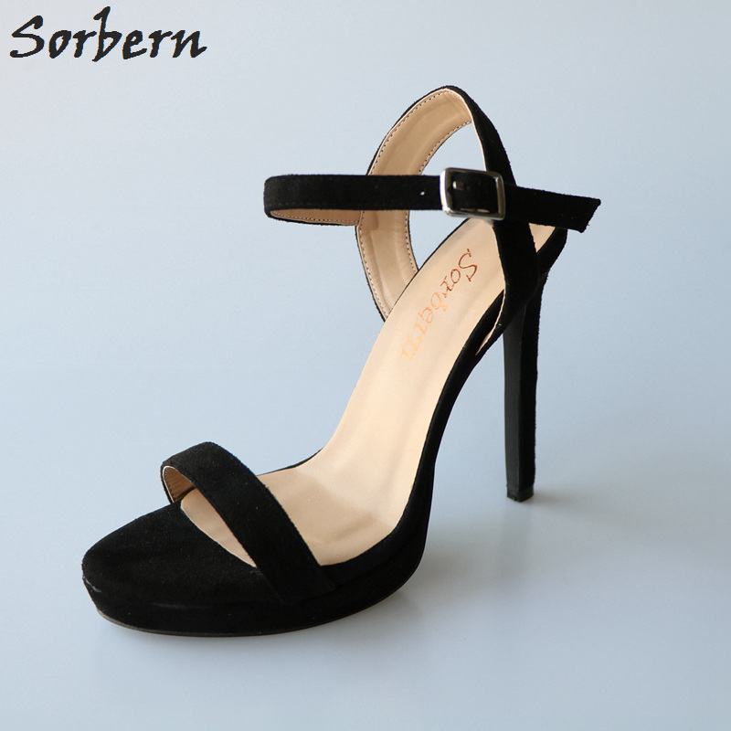 где купить Sorbern Black Ankle Strap Women Sandals High Heels Platform Shoes Ladies Open Toe Custom Colors Party Shoes Big Size 46 New по лучшей цене