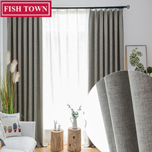 FISH TOWN More than 95% Shading Blackout Curtain For Livingroom Darpe Faux Linen Curtains for Bedroom Rideaux Window Customized