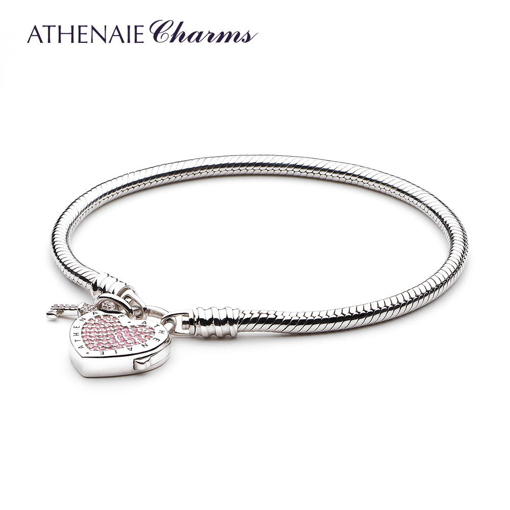 ATHENAIE 925 Sterling Silver Love Snake Chain Charms Bracelet Bangle with CZ Lock of Heart Clasp