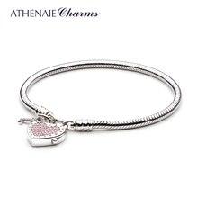 ATHENAIE 925 Sterling Silber Liebe Schlange Kette Charme Armband & Armreif mit CZ Schloss von Herz Verschluss Fit Frauen Hochzeit DIY Schmuck