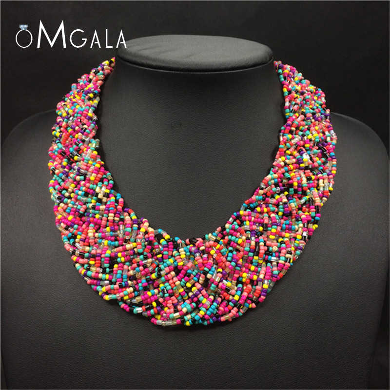 OMGALA Handwoven Bead Choker Women Necklace Vintage Statement Necklace Bohemia Ethnic Jewelry For Wedding Party