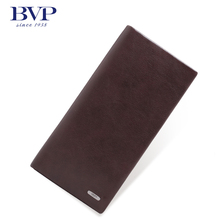 BVP High Quality Men's Top Genuine Leather Slim Long Wallet Bifold Organizer Purse Checkbook ID Card Receipt Holder Q506