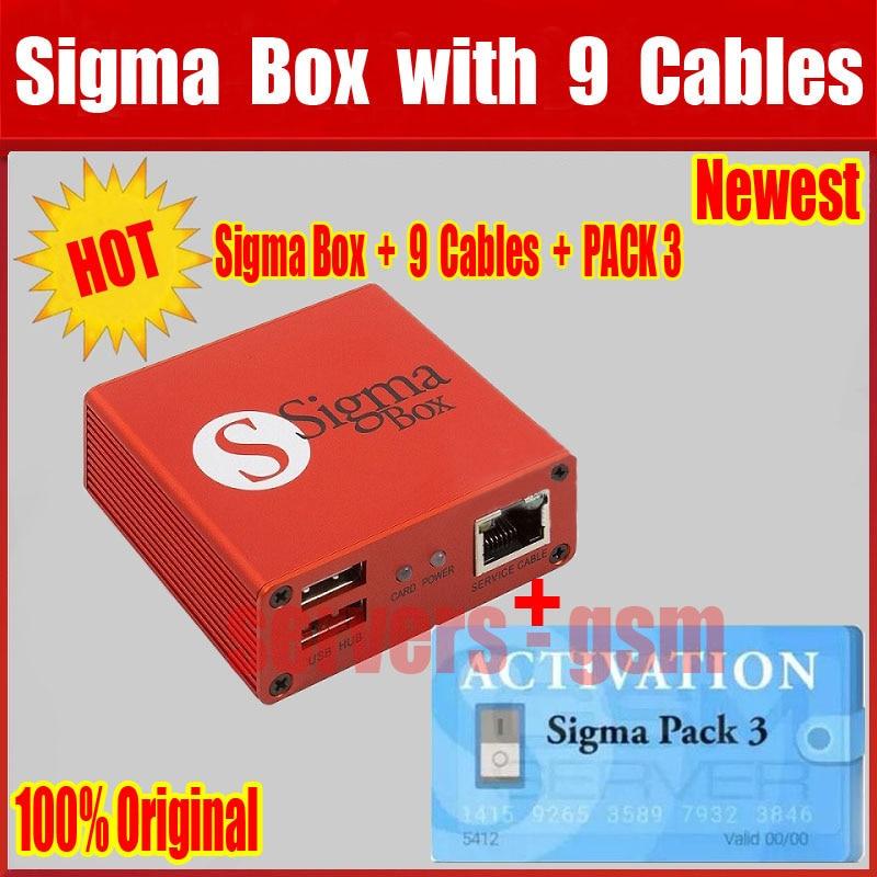 100% nouvelle version d'origine sigma boîte avec 9 câbles avec Pack 3 activation pour t MTK basé Motorola Alcatel Huawei ZTE Lenovo
