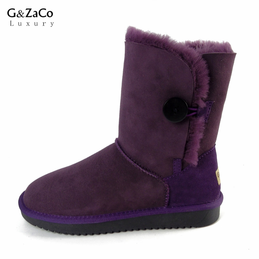 Фотография G&Zaco Luxury Classic Sheepskin Snow Boots Winter Sheep Fur Wool Snow Boots Classic Thick  Middle Button Women Leather Shoes