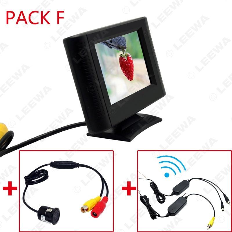 LEEWA 2,5 Zoll LCD TFT Monitor Mit Rückansicht Parkplatz Kamera RCA Video System 2,4G Wireless & Zigarette Leichter optional