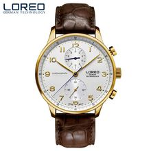 Men's Quartz watches LOREO brand sapphire crystal diamond chronograph waterproof leather stainless steel fashion business watch