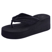 Hot Sale Women Toweling Sandal Platform Wedges Flip Flops Home Slippers Shoes wholesale Mo04