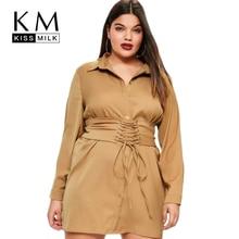 Kissmilk большой Размеры новые модные женские туфли Костюмы Повседневное краткое сплошной перекрестной шнуровкой платье с длинным рукавом плюс Размеры платье-рубашка 4XL 5XL 6XL