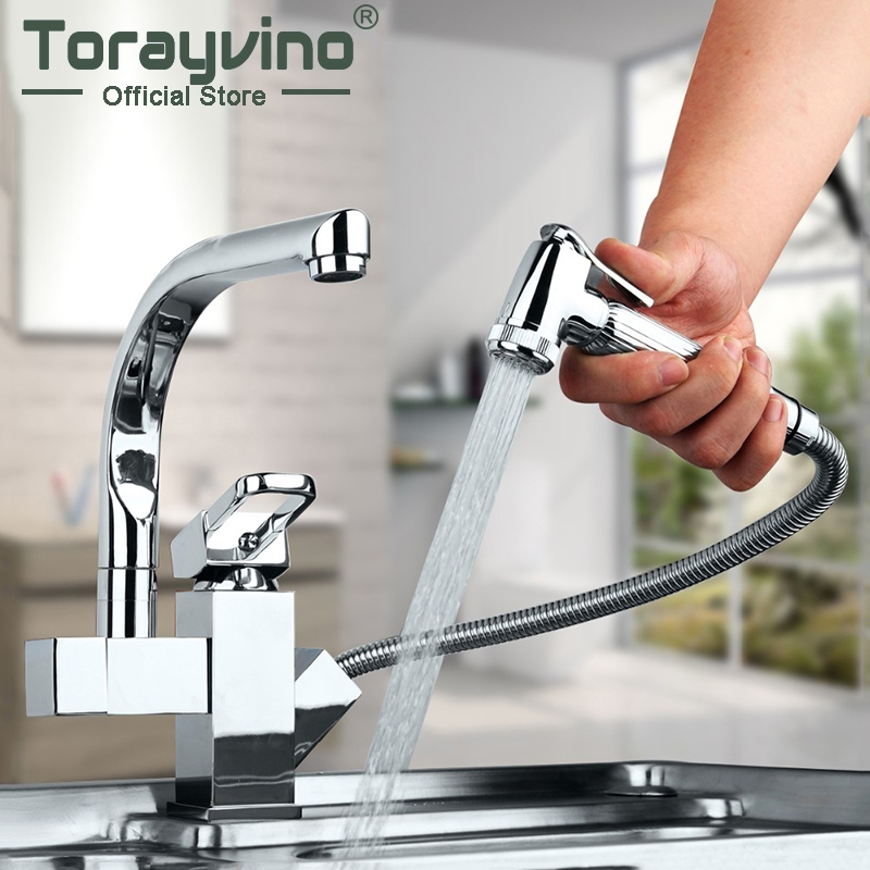 Torayvino Solid Brass Kitchen Mixer taps hot and cold Kitchen Tap Single Hole Water Tap Kitchen