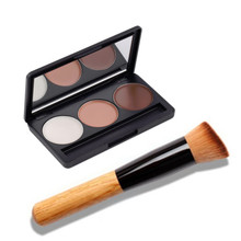 New 3 Colors Beauty Face Cream Makeup Concealer Palette Contour kit + Flat Top Angled Foundation Brush