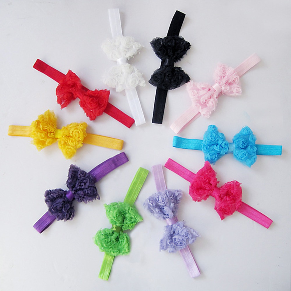 1Pcs Wholesale Lace Headbands For Girls Kids Lovely Flower Bow Head Band Headwear Hairbands Elsatic Hair Accessories 10pcs sweet diy boutique bow headbands elastic head band children girl hair accessories headwear wholesale