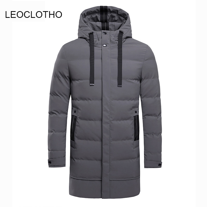 LEOCLOTHO   Parka   Men Hooded Thick Winter Coat Warm Length Clothing Large Size Loose High Quality Comfortable Outwear Coat