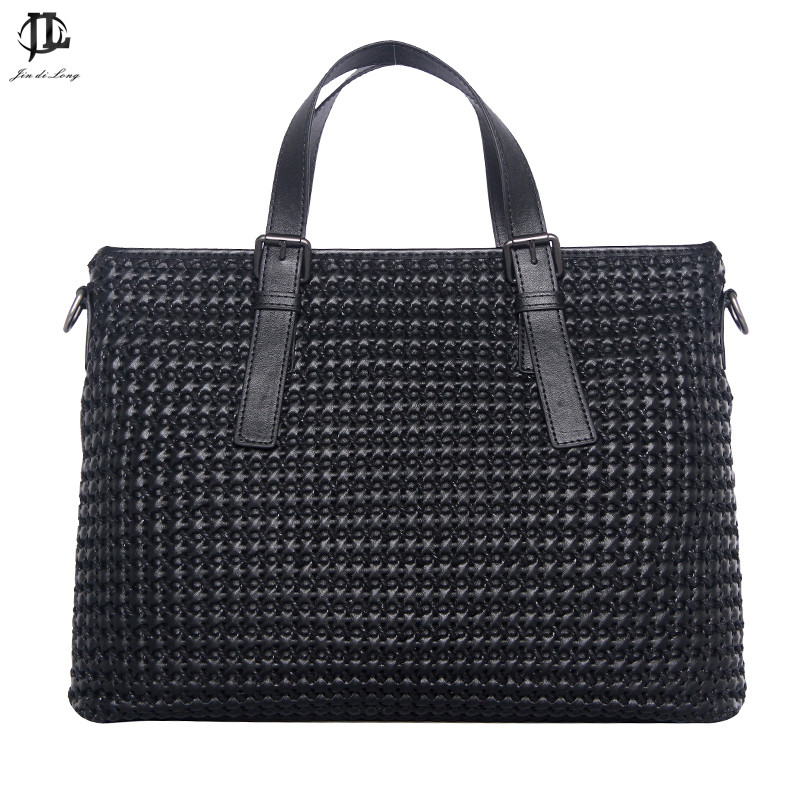 New Arrival Men's Fashion Shoulder Bag Knitting Pattern Briefcase Woven Pattern Solid Men Bag Business Bags Computer Bag