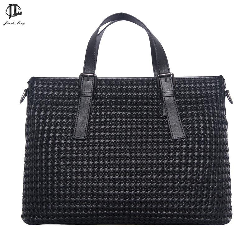 New Arrival Men's Fashion Shoulder Bag Knitting Pattern Briefcase Woven Pattern Solid Men Bag Business Bags Computer Bag