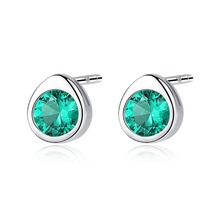 INALIS New Simple Design 925 Sterling Silver Round Shape Green Red Clear CZ Crystal Stud Earrings for Women Girl Fine Jewelry inalis new delicate cute drop earrings 925 sterling silver long chian with angle dangle brincos red clear cz fine jewelry girl