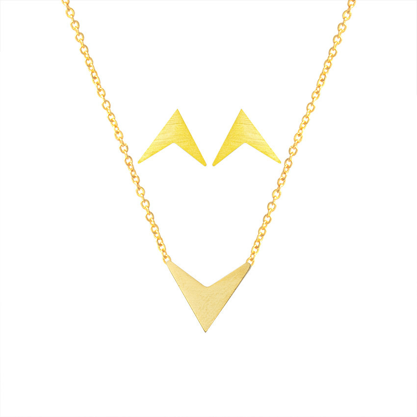 Minimalist Geometric Chevron V Shape Stud Earrings Pendant Necklace Women Men Jewelry Sets Stainless Steel Gold Silver Schmuck