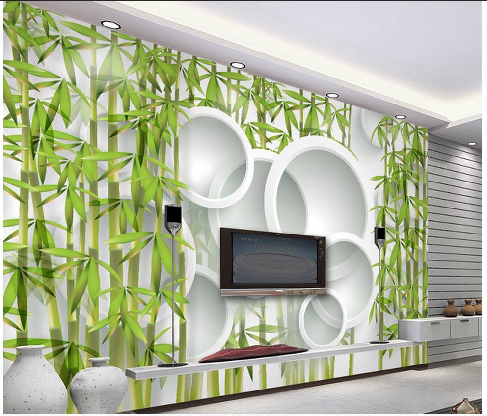 3d Wall Murals Wallpaper Bamboo 3D Living Room TV Sofa