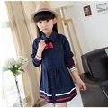 Весна Корейской версии новых детей с длинными рукавами отложным воротником рубашка с длинными темно-полосатые платья