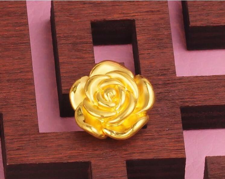 Pure 999 24K Yellow Gold Pendant Flower Pendant