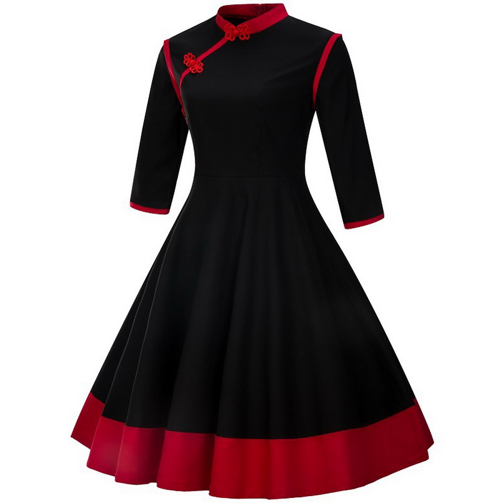 Autumn Vintage Plus Size Women Three Quarter Sleeve Patchwork A-Line Dresses Stand Collar Midi Dress