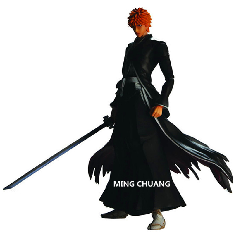 BLEACH Quench Play Arts Kurosaki Ichigo PVC Action Figure Collectible Model Toy with retail box 25 cm Q35 4pcs set bleach kurosaki ichigo kuchiki byakuya pvc action figure model toy doll bl014